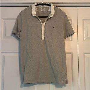 All Saints gray collared polo shirt, size M